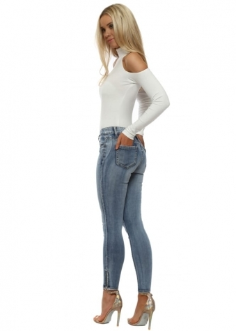 Blue Stretch Fit Zip Ankle Jeans