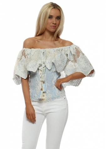 Baby Blue Crochet Lace Bardot Top
