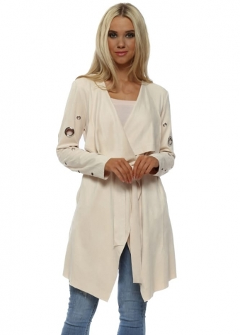 Cream Suedette Silver Circle Waterfall Jacket