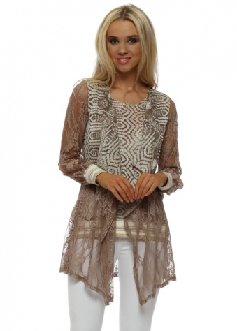 Taupe Lace Twin Set With Golden Stripe Cuffs & Hem