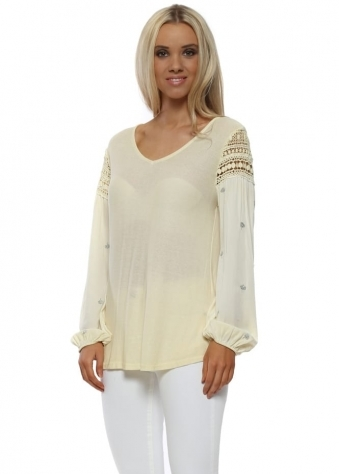 Lemon Crochet Sequinned Sleeve Top