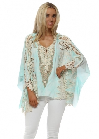 Aqua Watercolour Crochet Lace Batwing Top