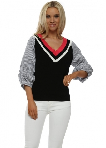 Black Pinstripe Ruched Sleeve Jumper