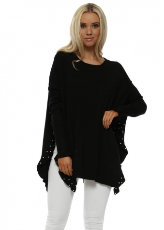 Black Pearl Studded Side Frill Split Jumper