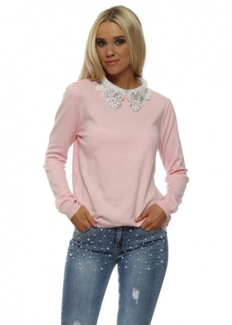 Baby Pink Diamanté Embellished Lace Collar Jumper