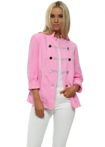 Candy Pink Diamante Military Jacket