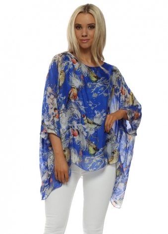 Cobalt Blue Silk Spring Bird Batwing Top