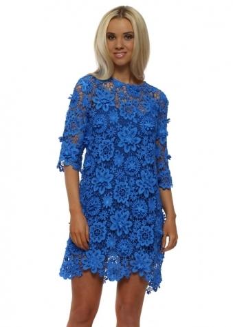 Cobalt Blue Lace Crochet Mini Shift Dress