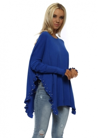 Cobalt Blue Pearl Studded Side Frill Split Jumper