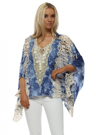 Ocean Blue Watercolour Crochet Lace Batwing Top