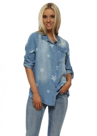 Light Blue Stars Relaxed Shirt
