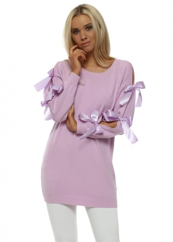 Lilac Satin Peek A Bow Sleeve Jumper