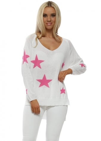 White Hot Pink Stars Fine Slub Knit Jumper