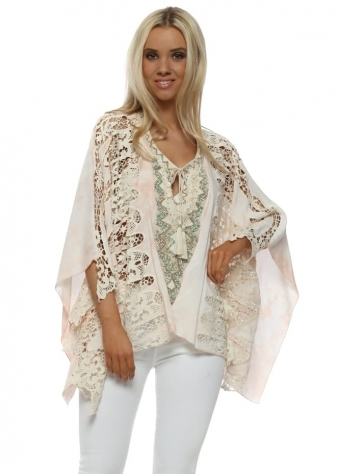 Nude Watercolour Crochet Lace Batwing Top