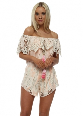 Peach Watercolour Lace Bardot Playsuit