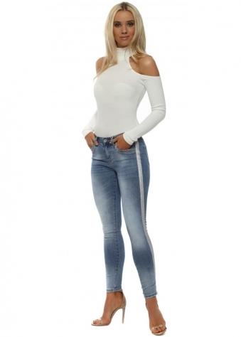 Blue Skinny Silver Side Stripe Jeans
