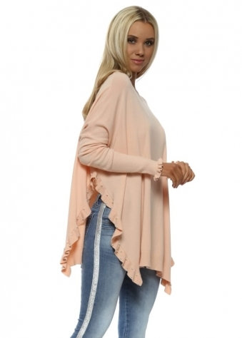 Nude Pink Pearl Studded Side Frill Split Jumper