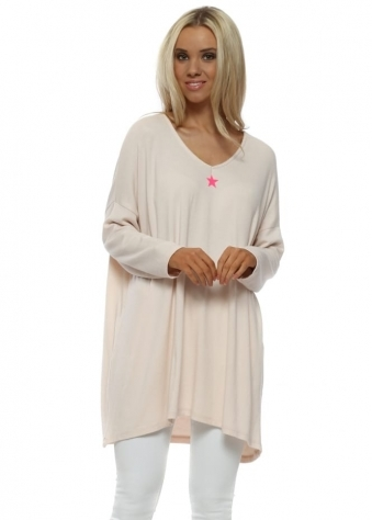 Neon Star Nude Pink Oversized Jumper