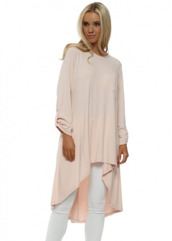 Nude Pink Long Length Dip Back Jumper
