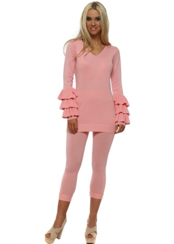 Pink Ruffle Layered Lounge Suit