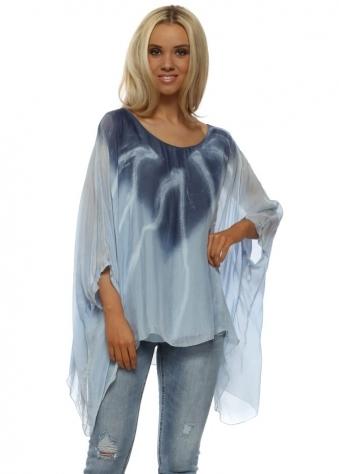 Blue Silk Dye Kaftan Top