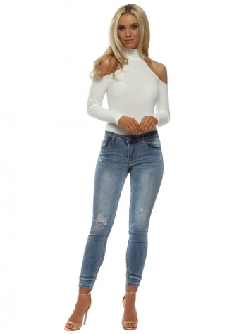 Blue Stretch Fit Distressed Ankle Grazer Jeans