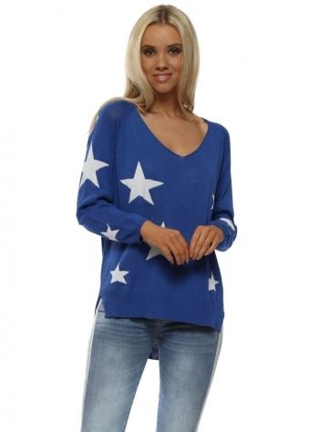 Cobalt Blue White Stars Fine Slub Knit Jumper
