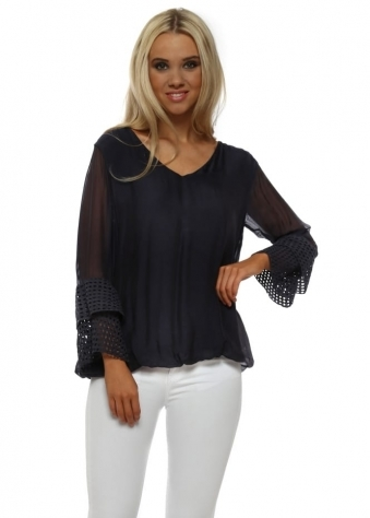 Navy Blue Silk Crochet Layered Sleeve Top