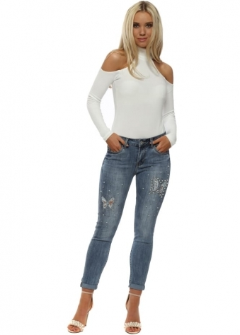 Blue Luxe Pearl & Crystal Butterfly Skinny Jeans