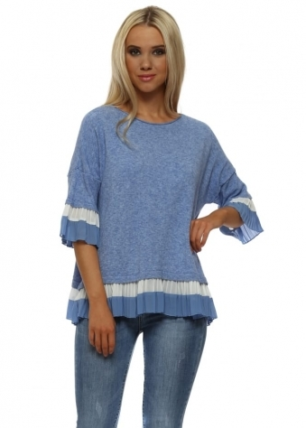 Blue Soft Knit Double Pleat Hem Jumper