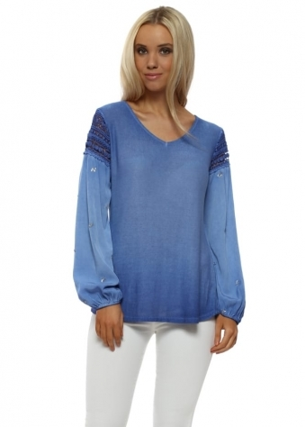Blue Crochet Sequinned Sleeve Top