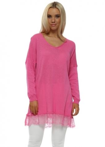 Hot Pink Slub Knit Eyelash Lace Hem Jumper