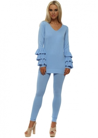 Blue Ruffle Layered Lounge Suit