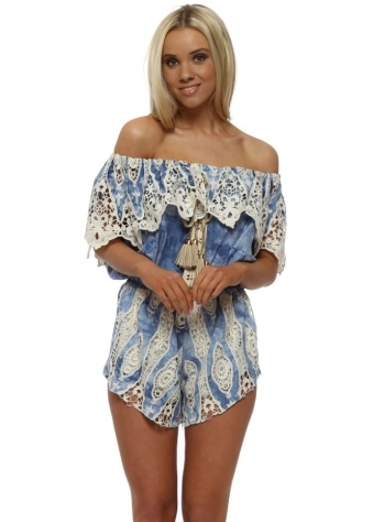 Ocean Blue Watercolour Lace Bardot Playsuit