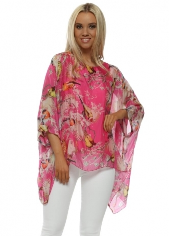 Hot Pink Silk Spring Bird Batwing Top
