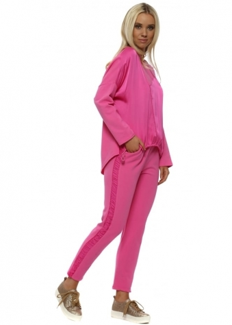 Fuchsia Pink Soft Touch Drawstring Tracksuit