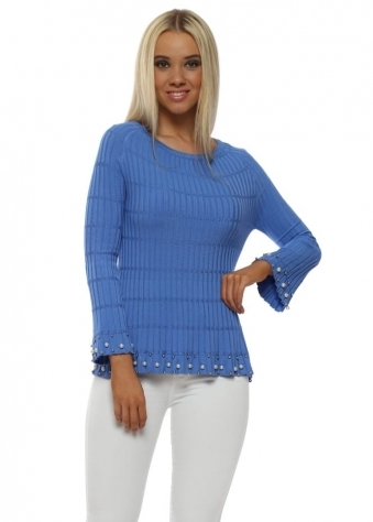 Cornflower Blue Ribbed Pearl Frill Jumper