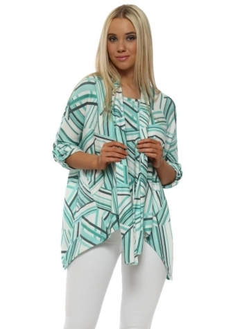 Green Geo Shapes Knit Top With Scarf