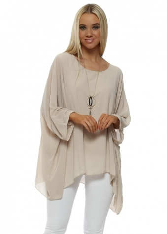 Beige Chiffon Batwing Necklace Top
