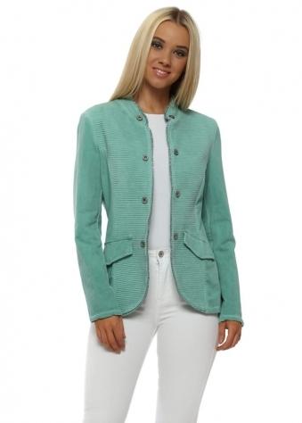 Green Ribbed Casual Jacket