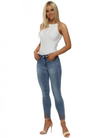 Stretch Denim Jeans With Pearl Embroidered Cuffs