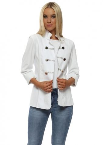 White Diamante Military Jacket