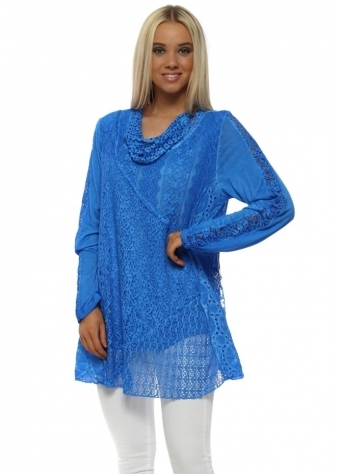 Blue Lace Oversized Tunic Top