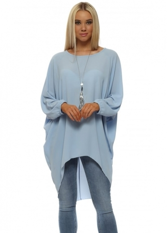 Baby Blue Crepe Tunic Top With Necklace