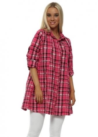 Pink Tartan Cotton Crinkle Shirt