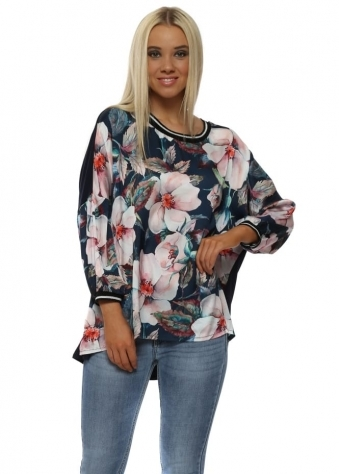 Satin Floral Front Navy Top