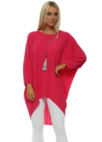 Fuchsia Crepe Tunic Top With Necklace