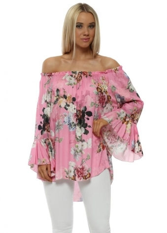Candy Pink Floral Frill Cuff Bardot Top