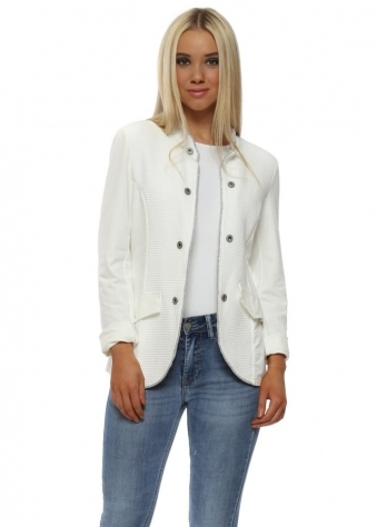 White Ribbed Casual Jacket