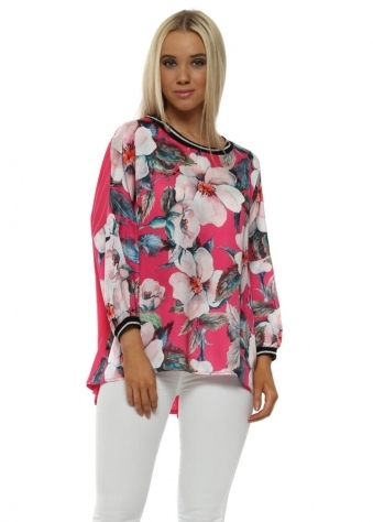 Satin Floral Front Hot Pink Top